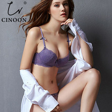 CINOON New Top Sexy underwear Set Push up Bra And Panty Sets Embroidery Lace Brassiere Adjustable Straps Gathered Lingerie