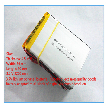 best battery brand Size 456090 3.7V 3200mah tablet  With Protection Board For Tablet V3000HD MP4 GPS Free