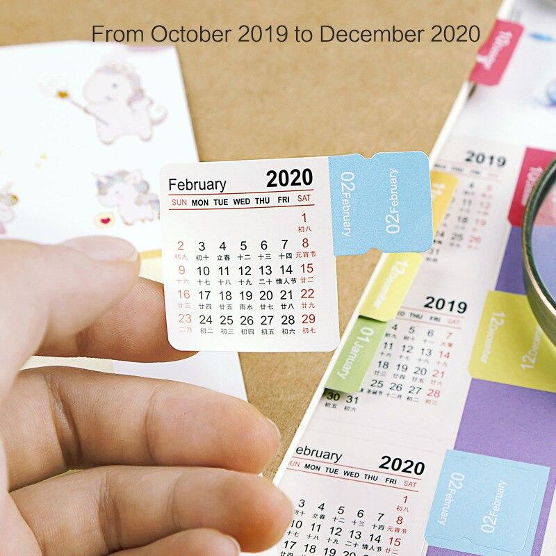 2020 / 2019 Year Mini Calendar Stationery Index Decorative Stickers Label Calendar Sticker DIY Work Schedule Calendar Planner