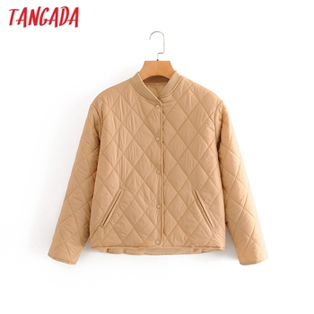 Tangada 2020 automne femmes solide surdimensionné mince Parkas coton veste à manches longues femme noir rembourré pardessus QN1 1