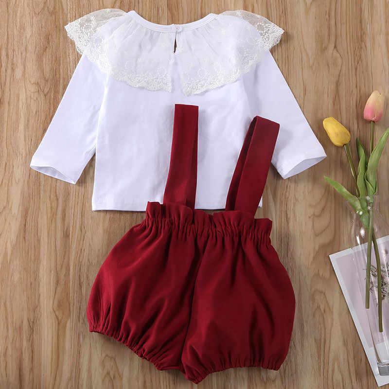 เด็กทารกเสื้อผ้าเด็กสาวลูกไม้แขนยาวเสื้อ + กางเกงกางเกงขาสั้น2ชิ้นชุดลูกไม้เสื้อผ้าสาวน่ารักแฟชั่นชุดเด็กทารก