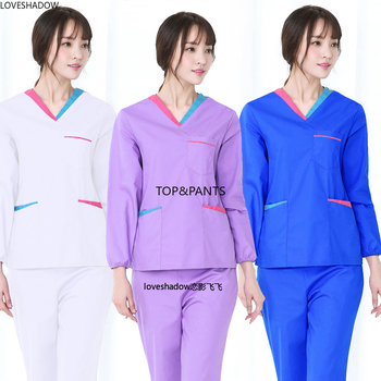 Women Long Sleeve Scrub Set Color Blocking VNeck Uniforms Top Spa Clinic Workwear Clothes Elastic Band Drawstring Trousers - discount item  45% OFF Work Wear & Uniforms