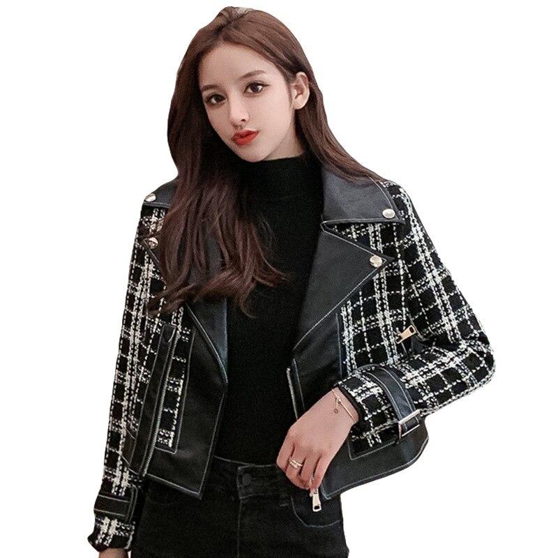 Купить женская твидовая куртка в стиле пэчворк из искусственной кожи