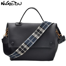 NIGEDU Women handbag designer Color wide strap Female Shoulder Bags pu leather Messenger Bags Winter new Ladies Big totes green nigedu чистый синий