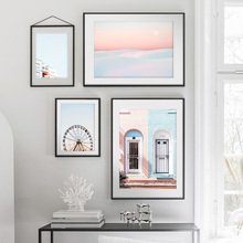 Landscape Snow Sunset Architecture Ferris wheel Wall Art Canvas Painting Nordic Posters And Prints Pictures For Living Room