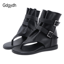 Summer Sandals Wedge Shoes Flip-Flops Back-Zipper European-Style Women Gdgydh Retro Ankle-Wrap