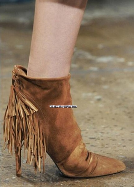 Preto marrom camurça couro borla lado zíper apontou toe fino salto alto tornozelo botas moda feminina gladiador franja bota curta