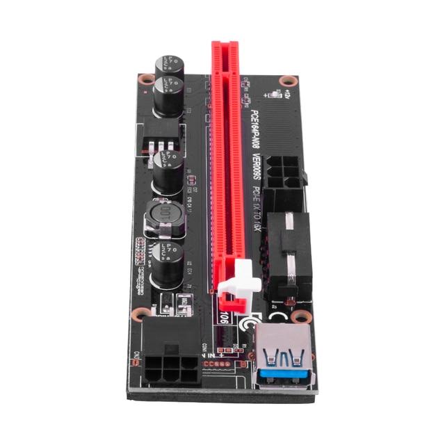6pcs Newest VER009 USB 3.0 PCI-E Riser VER 009S Express 1X 4x 8x 16x Extender pcie Riser Adapter Card SATA 15pin to 6 pin Power 3