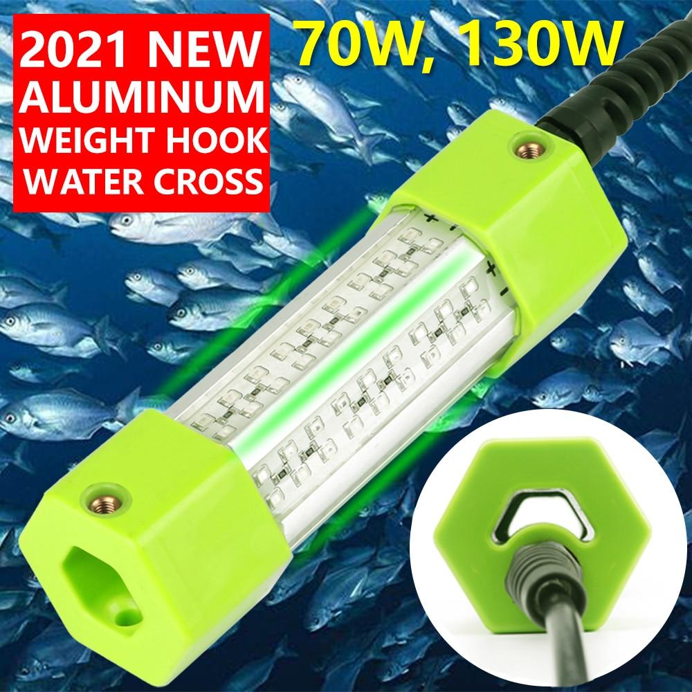 70 вт, 130 вт, 12 в постоянного тока, зеленый, белый, синий, желтый, IP68, алюминиевая высокомощная светодиодная приманка для ловли рыбы, погружная п...