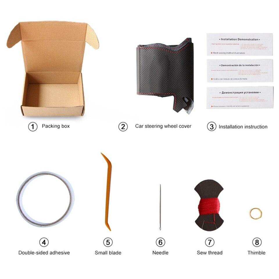 Diy couro artificial mão-costurado preto volante do