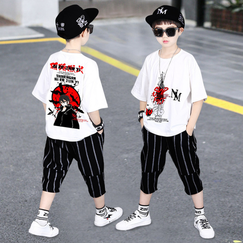 Boys Clothes Kid Boy Clothing Set Summer Children Toddler Outfits Cartoon T-shirt + Striped shorts <font><b>4</b></font> 5 <font><b>6</b></font> 7 8 9 10 11 <font><b>12</b></font> 13 Years image