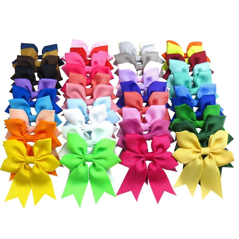 20PCS/LOT Lovely Snowflake Elastic Hair Bands Girls Ribbon Clip Bows Girl Hair Tie Hairpin Handmade Fashion Hair Accessories