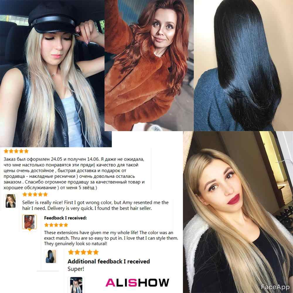 Alishow Tape In Remy Human Hair Extensions Double Drawn Haar Steil Invisible Huid Inslag Pu Tape Op Hair Extensions