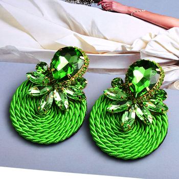 Colorful Crystal Handmade Round Earrings  4