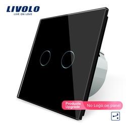 Livolo EU standard, Wall Switch, VL-C702S-12, 2 Gang 2 Way Control, Black Crystal Glass Panel, Wall Light Touch Screen Switch