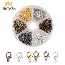 50pcs/lot Alloy Lobster Clasp Hooks Six Colors Open Circle Jump Rings Jewelry Findings DIY Making Bracelet Buckle Accessories
