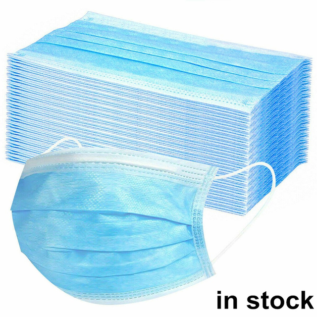 QWER 50pcs Face Mouth Masks Respirator 3-layer Antiviral Protection Flu Facial Mask Influenza Earloop Non Woven Mouth Dust Mask 1
