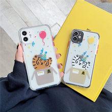 Bonito dos desenhos animados tigre pintura telefone estojo para iphone 12 mini 11 pro max 7 8 plus x xr xs max se 2020 transparente macio capa traseira