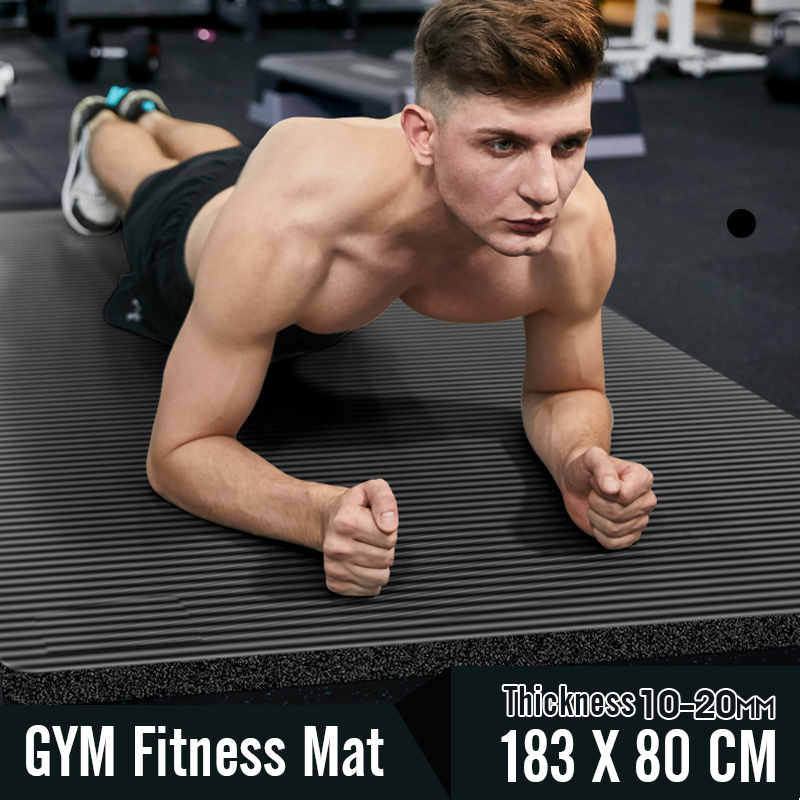 Men Gym Mats Large Size NBR Non-slip Yoga Mats For Fitness Mat 20MM Fitness Sport Pad With Bandages Big Size Tapete 183*80 CM
