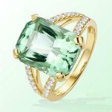 Роскошное ювелирное женское кольцо квадратное зеленое Высокое качество Кристалл кубик цирконий обручальное кольцо День рождения изысканный подарок
