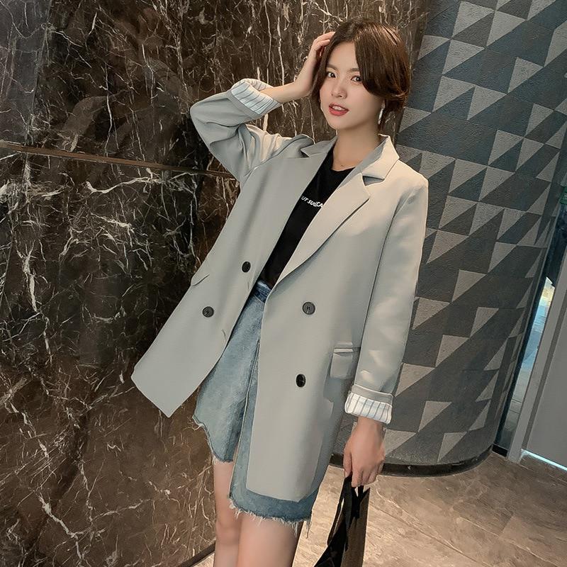 Fashion women's suit feminine coat jacket 2020 new loose double-breasted elegant ladies blazer Mid-length Female Pink