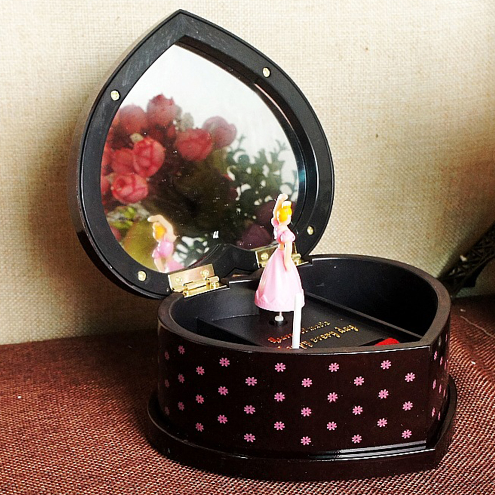 Christmas Gift Jewelry Storage Home Decor Mechanical Music Box Heart-Shaped Dancing Girl Ballerina Lovely Plastic With Mirror