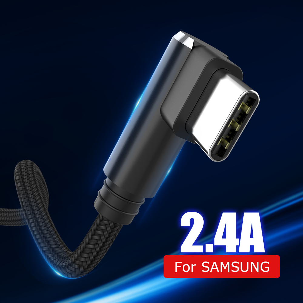 Fast Charging USB C <font><b>Cable</b></font> L Type-C USB Type C Micro USB 90 Degree 3.<font><b>1</b></font> Data Cord Charger USB-C For <font><b>Samsung</b></font> S8 S9 Note 8 Xiaomi image