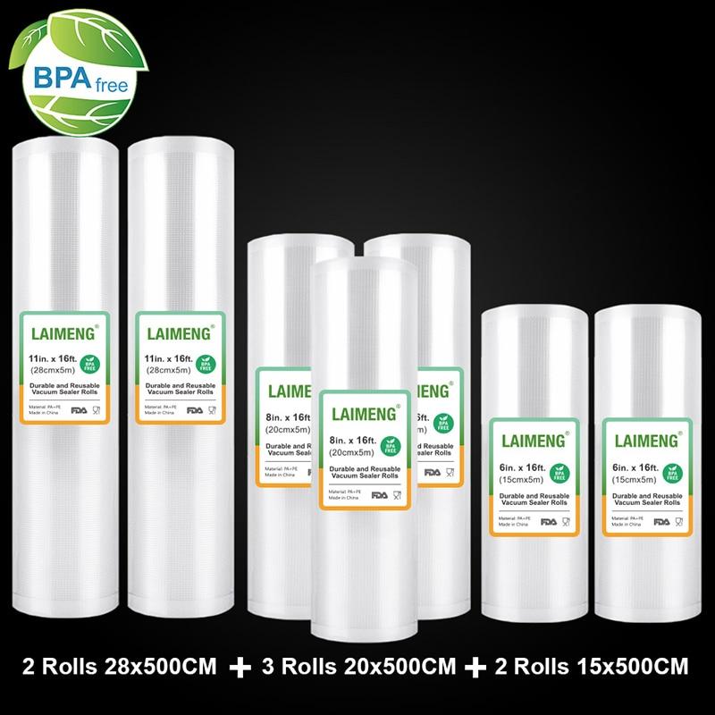 LAIMENG Vacuum Bags For Vacuum Food Sealer Sous Vide For Vacuum Packer Storage Bags Food Fresh 15+20+28cm*500cm 7 Rolls/lot R200