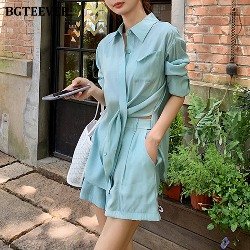 BGTEEVER Chic Summer 2 Pieces Set Women Lace Up Blouses & Loose Shorts 2020 Female Shorts Suits Casual Short Pant Suits Women