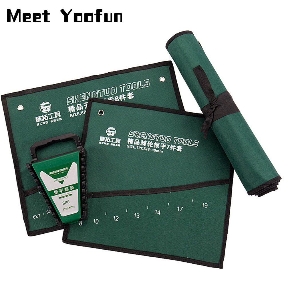 Wrench Storage Bag Roll Up Foldable Spanner Combination Canvas Hanging Bag Practical Organizer Pouch Case Hand Tool Storage Bag