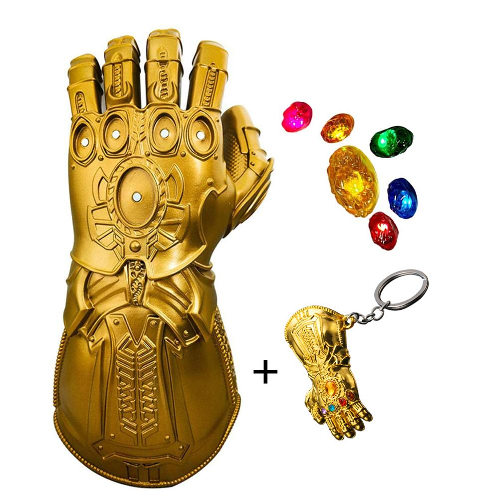 Iron Man Infinity Gauntlet LED Stones Gem Light Up Glove Halloween Cosplay Props Thanos Gauntlet For Kids Adult Removable Glove