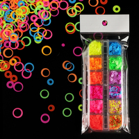 12 Grids Fluorescence Hollow Circle Sequins Neon Round Nail Art Glitter Flakes 3D DIY Colorful Slice Nail Art Decorations