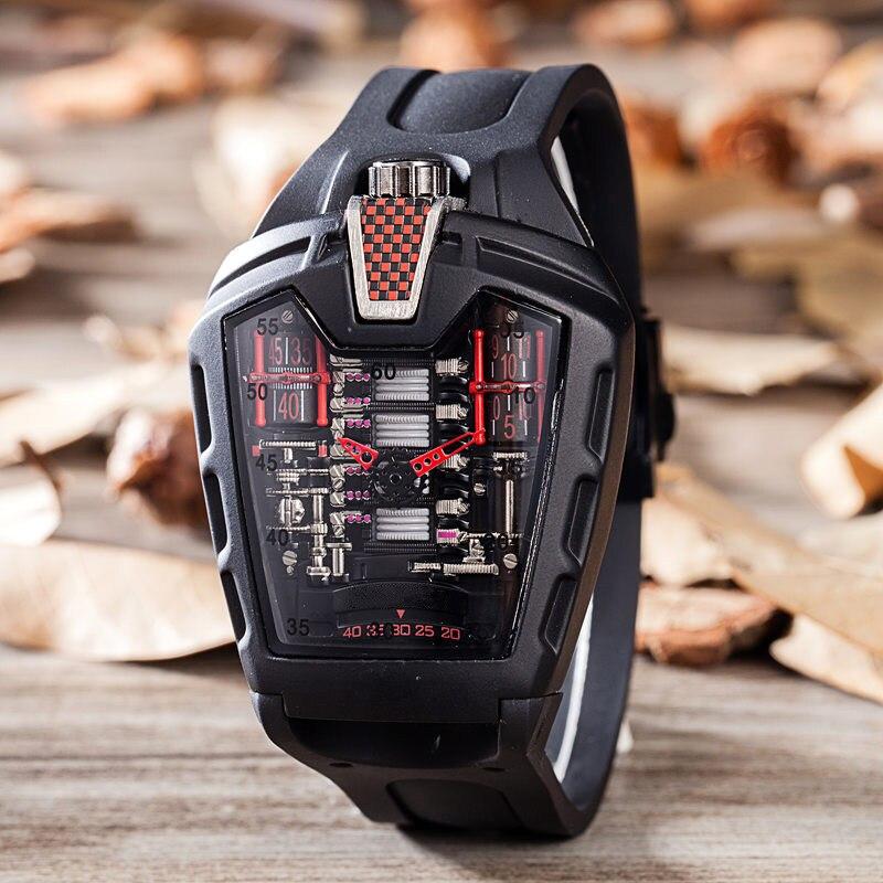 Reloj hueco para hombre, pulsera de silicona de sílice fantasma, reloj de cuarzo, reloj fresco, reloj de hombre, esqueleto, reloj de estudiante fantasma