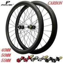 цена на Pasak Road Bike 700C Carbon Wheelset Disc Brake 24 Holes Thru Axle F15*100mm R12*142 QR F9*100mm R9*135mm UD 3K 40mm 50mm 55mm