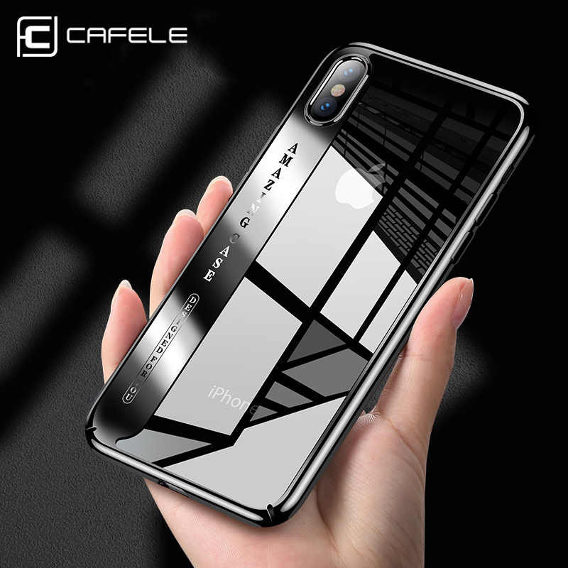 CAFELE Original Phone Case For iPhone X Fashion Plating Case Hard Transparent Back Cover For Apple iphone X Cases Anti Scratch