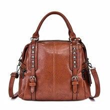 Women Handbag Leather Fashion Bag Women Shoulder Bag Female Crossbody Handbag Lock Chain Rivets Girls Vintage Women Bags цена в Москве и Питере