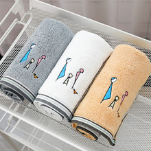 34x75cm 100% Cotton Hand Towel Cartoon Embroidered Family Washcloth Absorbent Decorative Elegant Bathroom Towels недорого