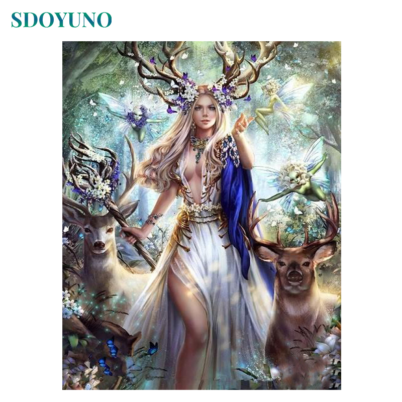 SDOYUNO 60x75cm Painting By Numbers Elf Queen And Deer DIY Frameless Pictures By Numbers On Canvas Wall Art For Home Decor