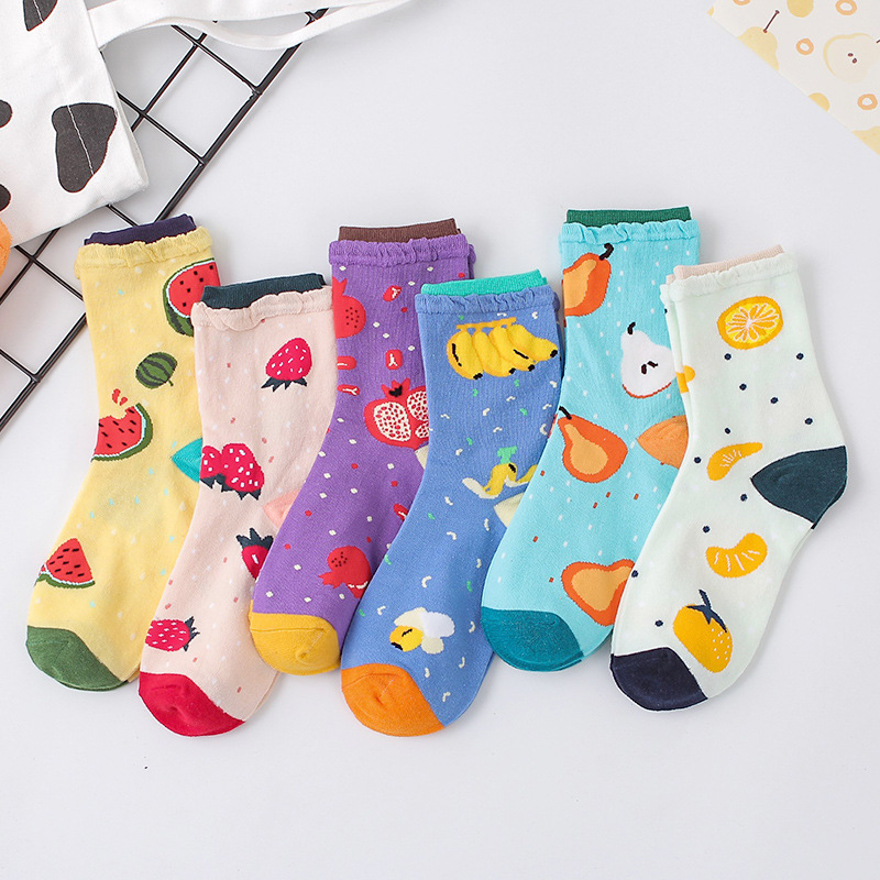Streetwear Bubble Screw-type Fruit Funny Socks Women Autumn Winter Colorful Cute Socks Mujer With Banana Strawberry 092504