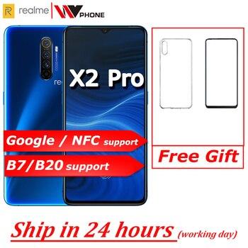 Перейти на Алиэкспресс и купить Realme X2 pro X 2 Мобильный телефон Snapdragon 855 plus 64MP Quad камера 6,5 ''полный экран NFC OPPO мобильный телефон VOOC 50 Вт супер зарядное устройство