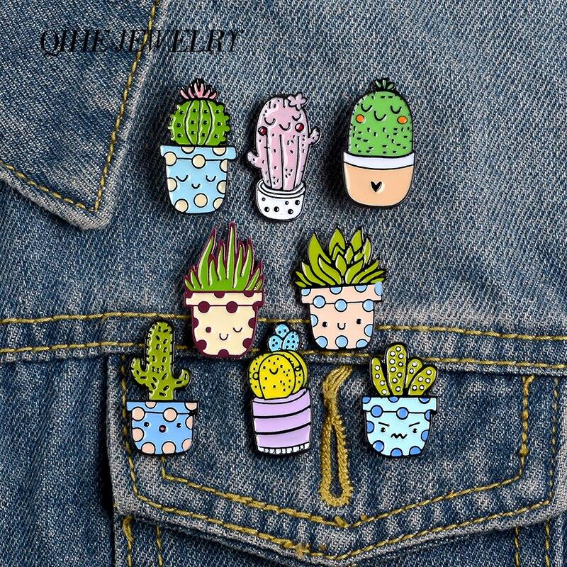 QIHE biżuteria Cartoon uśmiechnięta roślina doniczkowa szpilki kaktus emalia szpilki śliczne broszki odznaki Denim torba na ubrania szpilki prezent dla przyjaciół