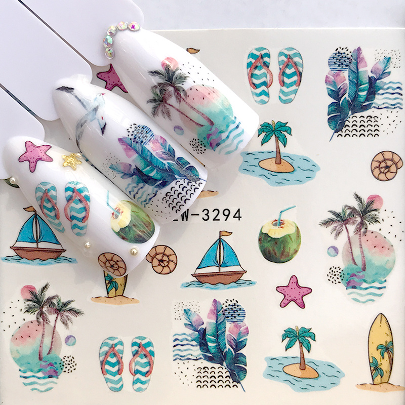 1 Sheet 2020 New Arrival Summer Beach Water Decal Xmas Sticker For Nail Pattern Painting Wrap Paper Foil Tip Tattoo Manicure