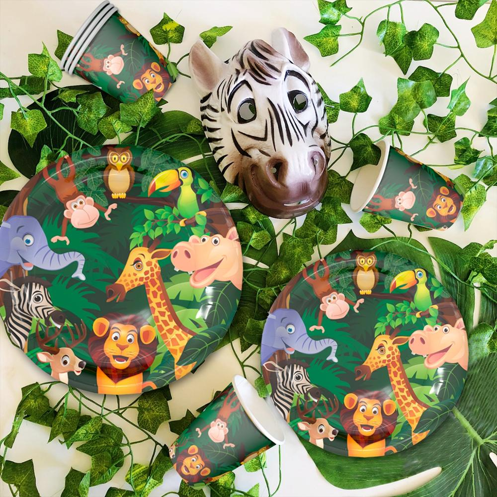 HUIRAN Jungle Animal Supplies Tableware Happy Birthday Party Decor Kids Boy Jungle Theme Party Safari Party Decor Green Forest