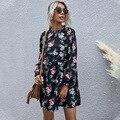 Лидер продаж, модная повседневная черная юбка с высокой талией и воротником, темпераментное осенне-зимнее платье, женские платья с длинными...
