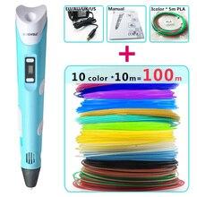 цена на myriwell 3d pens + 10 * 10m ABS Filament,3 d pen 3d model,Creative 3d printing pen,Best Gift for Kids DIY creative,pen-3d pen