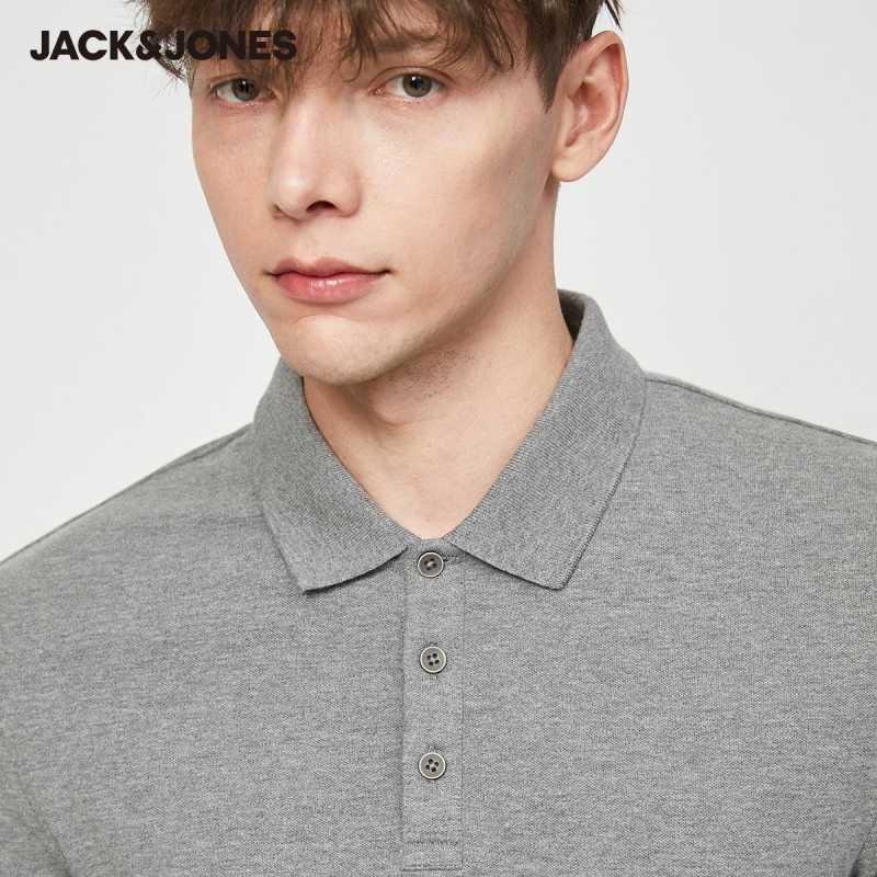Jack Jones erkek temel düz renk pamuk Turn-down yaka Polo GÖMLEK JackJones erkek giyim 220206532
