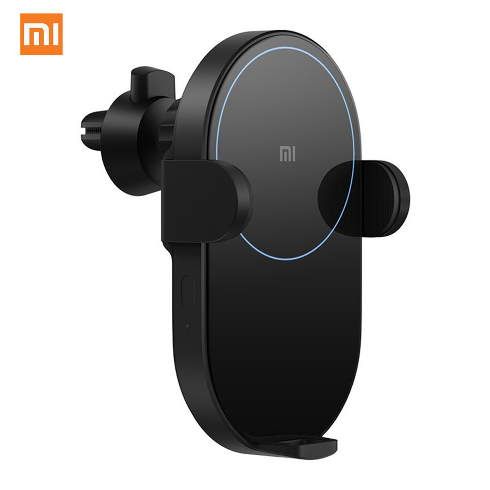 2019 Xiaomi Mi 20W MAX Qi Wireless Car Charger EPP Auto Pinch Car Phone Holder 2.5D Glass Ring Lit Charging For IPhone Samsung