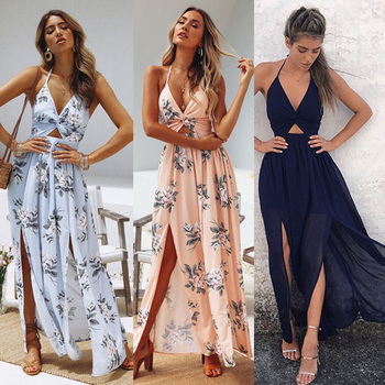 Summer New Boho  Elegant Floral Halter V Neck Long Dress Women Sexy Bandage Evening Party Dresses Sundress Beach