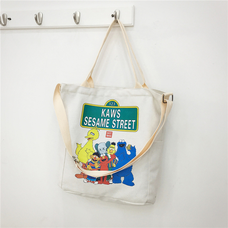 2019 New Style KAWS Sesame Street Casual Versatile Trend Korean Models Shoulder Hand Large Bag Women's Canvas Handbag