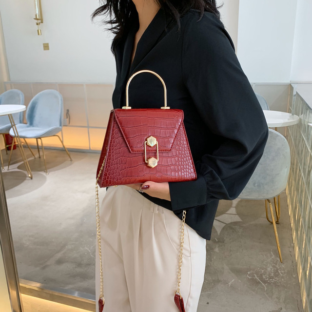 Stone Pattern PU Leather Crossbody Bags For Women 2020 Small Totes With Metal Handle Lady Shoulder Messenger Bag Handbags 3